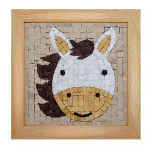 Mosaicbox - Mozaiek met lijst Paard portret 17 cm